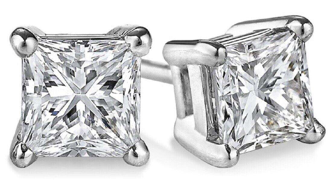 100% Natural 4.00 Ct. Princess Cut Stunning Diamond Stud Earrings 14k WG GIA
