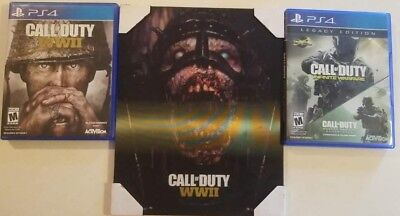 CALL OF DUTY ART AND GAME BUNDLE OF MINT WWII, INFINITE WARFARE LEGACY PS4