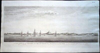 Antique map, The bay of St. Julian when Mount Wood bears W.S.W. 1/2 S. ..
