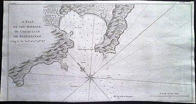 Antique map, A plan of the harbour of Chequetan or Seguataneo