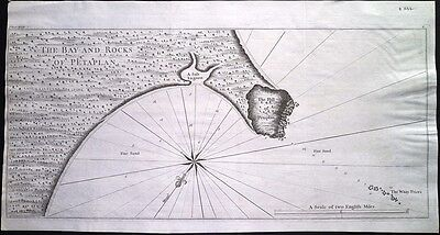 Antique map, A bay and rocks of Petaplan