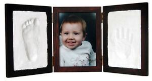 Mahogany-CLAY-KEEPSAKE-PHOTO-DESKTOP-FRAME-KIT-Baby-Foot-Hand-Imprint-No-Bake