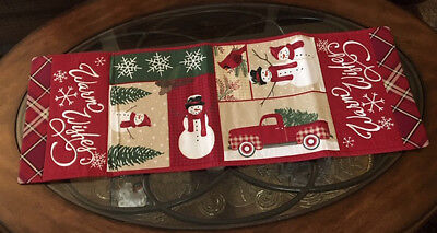 Rustic Red Pickup Cardinal Snowman Christmas & Winter Table Runner Lodge Decor