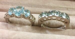Vintage Small Blue Topaz & Peridot Sterling Silver Rings Ashmore Gold Coast City Preview