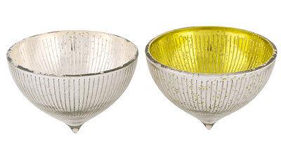 Teelichthalter schwimmend Glas grün / silber groß 12 cm (216987e) Schwimmkerzen  (Grüne Schwimmende Kerzen)