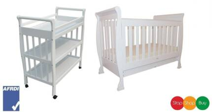 Brand New Sleigh Baby Cot Toddler Bed and Change table package Auburn Auburn Area Preview