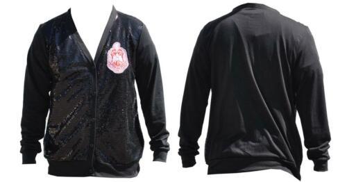 Delta Sigma Theta Sorority Sequin Cardigan-Black- Size  Medium-New!