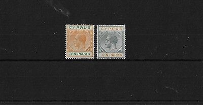 CYPRUS SG85/6, 10pa BOTH TYPES, MOUNTED MINT, CAT £30