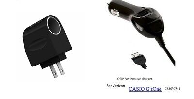 Verizon CAR CHARGER CASIO G'zOne Brigade C741 Car CORD to Wall Adapter Converter for sale  Shipping to India
