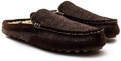 CLARKS MEN'S KITE HERO MULE SLIPPERS BROWN TEXTILE WARM LINED SIZE 10 G