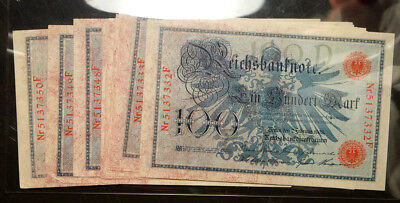 GERMANY LOT OF 19 (NINETEEN) CONSECUTIVE (!) 100 MARK 1908 RED SERIAL # AUNC!