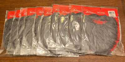 Fake Grey Beard (Lot Of 10 Fun Beard Grey Fake Gray Strap On Pirate Gnome Costume Accessory)