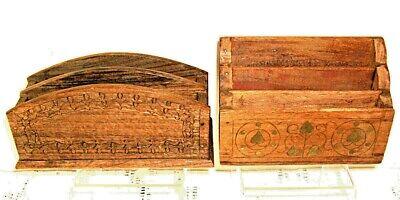 Two carved vintage letter racks. Wood, Antique Treen.  Desk organisers