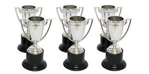 4X Silver Plastic Award Trophies - Parties Evens etc - New & Sealed