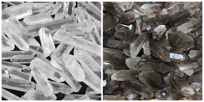 1 4 Lb Bulk Lot Mixed Smokey   Quartz Crystal Natural Clear Points Smoky