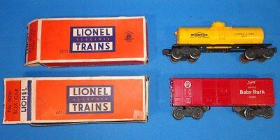 LIONEL ELECTRIC TRAINS #6014 BABY RUTH BOXCAR #6015 SUNOCO SINGLE DOME TANK CAR