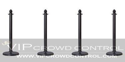 4 PCS C-HOOK PLASTIC STANCHION IN BLACK, VIP CROWD CONTROL