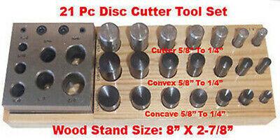 "21 PC Disc Convex Concave Puncher Cutter 1/4"" to 5/8"""
