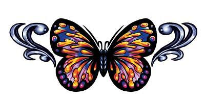Colorful Butterfly Tattoos (Tribal Butterfly Temporary Tattoos, Colorful - Pack of 6, Made in the)