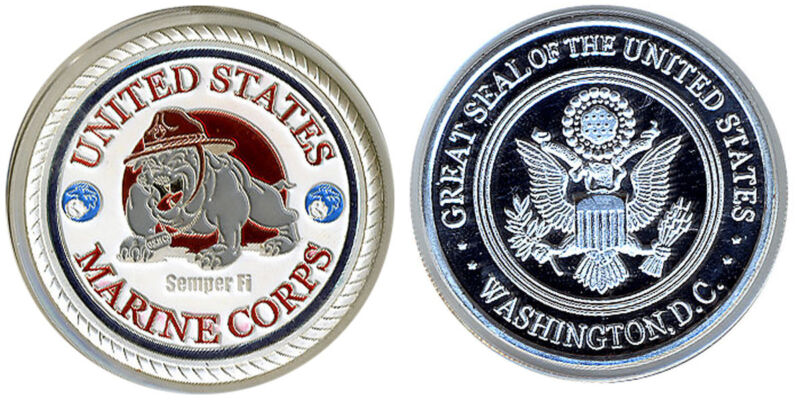CHALLENGE COIN UNITED STATES MARINE CORPS POKER PROTECTOR  Silver *
