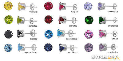 .925 Sterling Silver Round CZ Birthstone Color Stud Earrings NEW