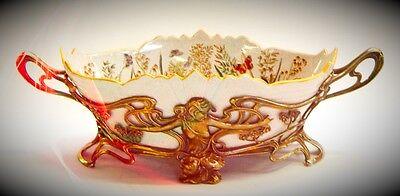 Jugendstil Bronze & Porzellan Obst Schale Vintage Luxus Geschenk Weihnachten