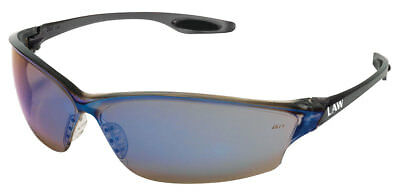 Crews Law 2 Safety Glasses With Blue Mirror Lens Smoke Frame