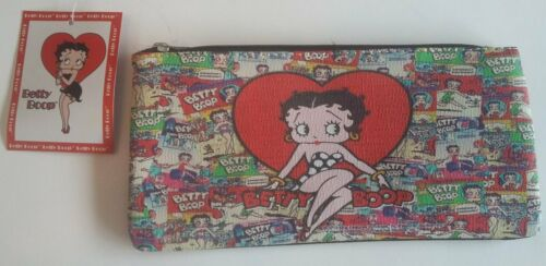 Betty Boop Red Heart Collection Make-Up Bag Multi Poses/Comic Look Design NWT