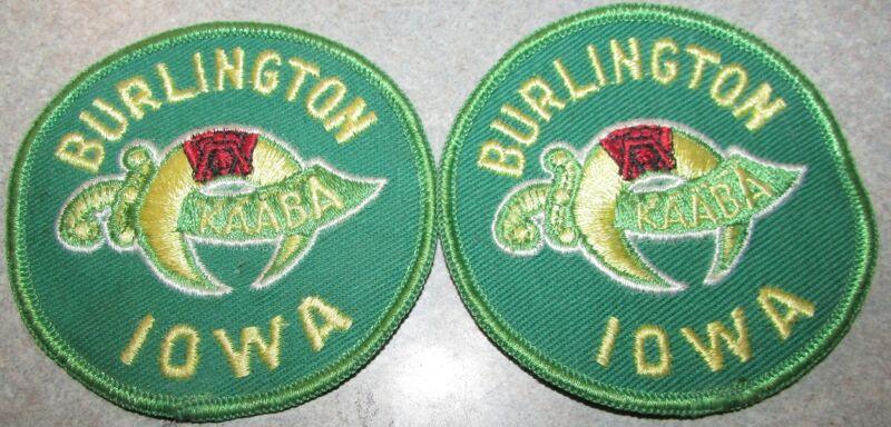 2 Vintage Kaaba Shriners Temple Burlington, IA Patches - Iowa Masonic