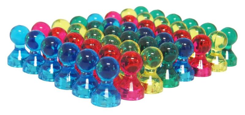 48 Translucent Assorted Color Small Push Pins - High Grade Neodymium Magnets