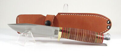 "Bark River Knives Canoe, Cru-Wear, Stacked Leather, 9 1/8"", Hike, Camp, Hunt"