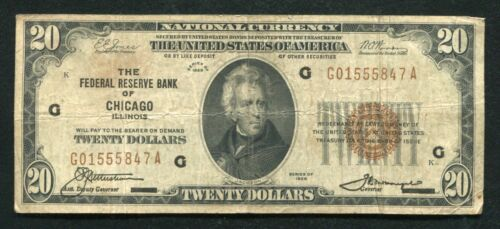 FR. 1870-G 1929 $20 FRBN FEDERAL RESERVE BANK NOTE CHICAGO, IL