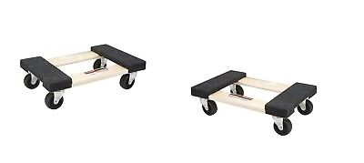 Two 18 In X 12 In. 1000 Lb. Capacity Hardwood Dolly Moving Furniture Heavy Duty