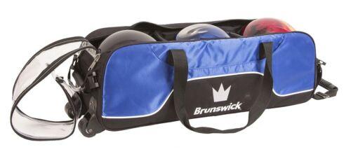 Brunswick Crown Black/Blue Slim Triple 3 Ball Tote Bowling Bag