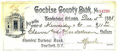 1888 TOMBSTONE, ARIZONA TERRITORY - Cochise County Bank Check
