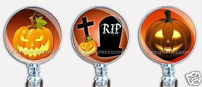 Halloween Pumpkins Badge Reel Retractable ID Name Card Holder