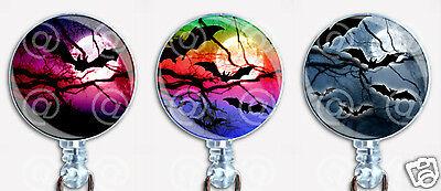 Halloween Badge Reel Retractable ID Name Card Holder Flying Vampire Bats Moons