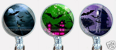 Halloween Badge Reel Retractable ID Name Card Holder Creepy Haunted Houses Bats