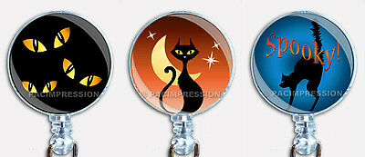 Halloween Cats Badge Reel Retractable ID Name Card Holder - Cat Halloween Names