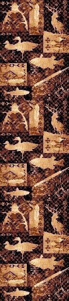 "26"" x 86"" COUNTRY LODGE RUNNER  RUG SOUTHWESTERN DUCK DEER FISH FISHING CABIN"
