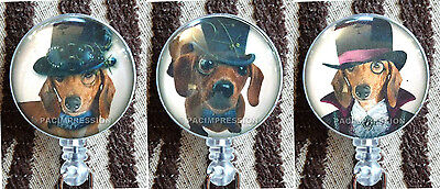 Badge Reel Retractable ID Name Card Holder Steampunk Dachshund Dogs Puppy -