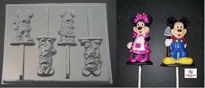Mickey and Minnie Mouse Farmer Chocolate Candy Lollipop Soap Mold