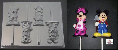 Mickey and Minnie Mouse Farmer Chocolate Candy Lollipop Soap Mold - Minnie Mouse Lollipop Mold