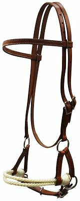 Brown Leather Western Side Pull Sidepull w Rope Nose Headstall Bitless Bridle