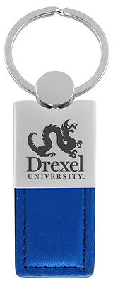 Drexel University Leather And Metal Keychain Blue
