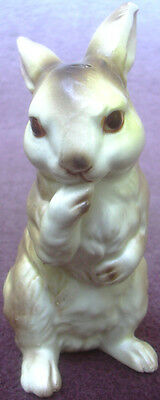 Vintage Norleans Bunny Rabbit Ceramic Figurine Silver & Red Foil Sticker