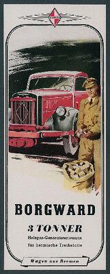 o. Reklame Borgward Auto Lastwagen Lkw Bremen Holzvergaser Kriegswirtschaft 1941