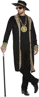 Mens Long Pimp Stag Do Night Carnival Halloween Fancy Dress Costume Outfit (Pimp Halloween Outfits)