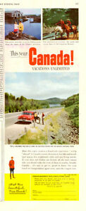 Authentic 1954 half-page ad for Canadian Travel Bureau