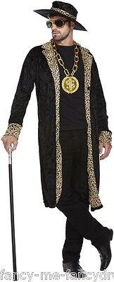 Herren Leopardenmuster Pimp Junggesellenabschied Lustige Neuheit - Pimp Kostüm Schwarz